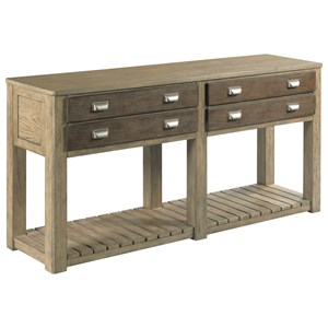 Rustic Sofa Table with 2-Drawers
