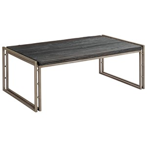 Contemporary Rectangular Cocktail Table with Charred Pine Top