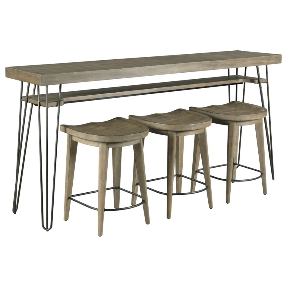Sanbern Bar Console w/ 3 Stools by Hammary at Jordan's Home Furnishings