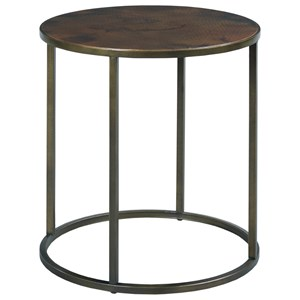 Round End Table with Acid Wash Hammered Copper Top & Metal Base