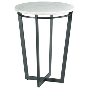 Contemporary Round Chairside Table with Marble Top