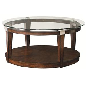 Contemporary Round Coffee Table with Glass Top