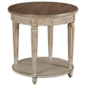 Round End Table with Distressed Finish