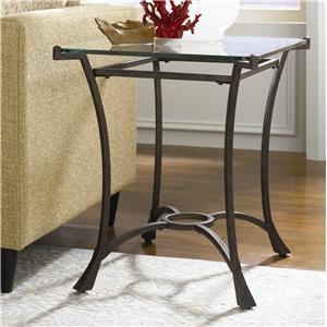 Contemporary Metal Rectangular End Table with Glass Top
