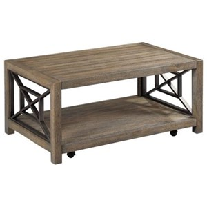 Rustic Small Rectangular Cocktail Table with Removable Casters