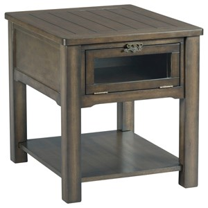 Rectangular Drawer End Table with Industrial Latch Hardware and Drop Front Display Door