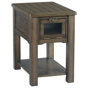 Chairside Table with Industrial Latch Hardware and Drop Front Display Door