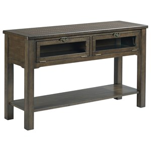 Sofa Table with Industrial Latch Hardware and Two Drop Front Display Doors