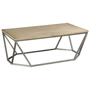 Wood and Metal Rectangular Cocktail Table with Geometric Modern Base