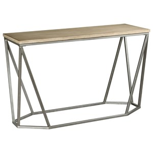 Wood and Metal Rectangular Sofa Table with Geometric Modern Base