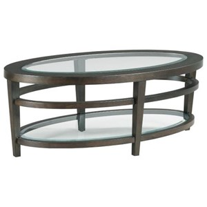 Transitional Oval Cocktail Table with Glass Inserts