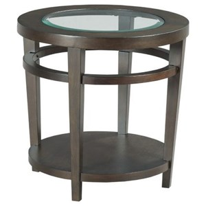 Transitional Round End Table with Glass Top Insert