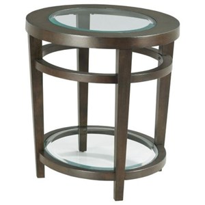 Transitional Oval End Table with Glass Top Insert