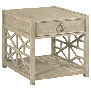 Relaxed Vintage Biscane Drawer End Table with Geometric Grid