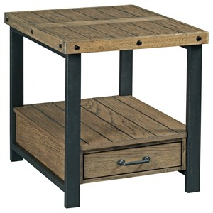Rustic-Industrial Rectangular 1 Drawer End Table