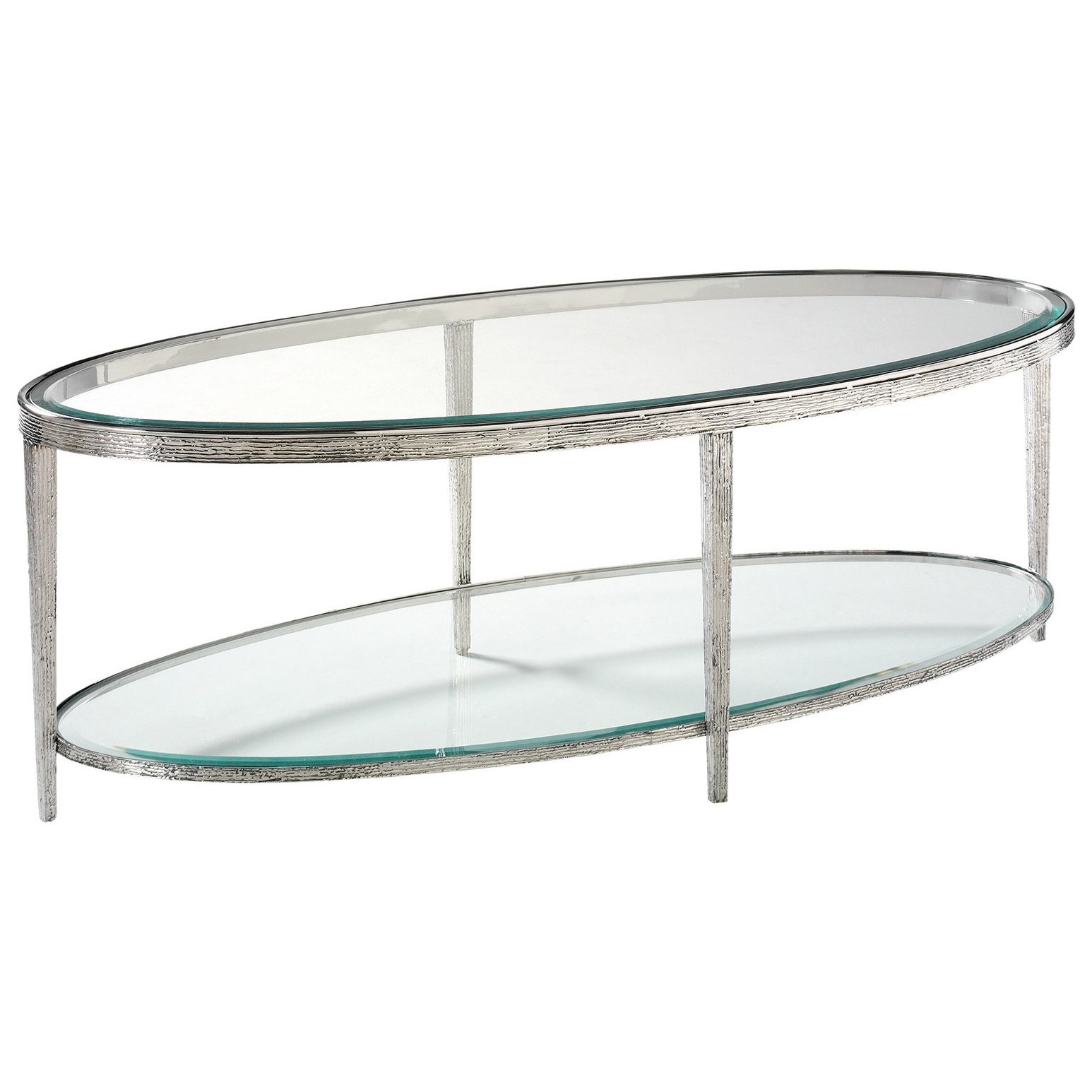 H & M Occasional Jinx Nickel Cocktail Table - Oval by Hancock & Moore at Baer's Furniture