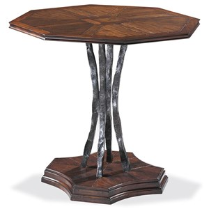 Toth Octagonal Lamp Table with Textured Metal Pedestal