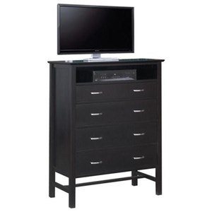 4-Drawer Media Chest with Open Compartment