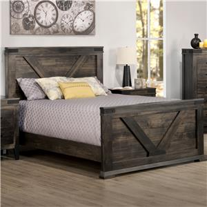 King Bed with Tall Footboard and Metal Accents