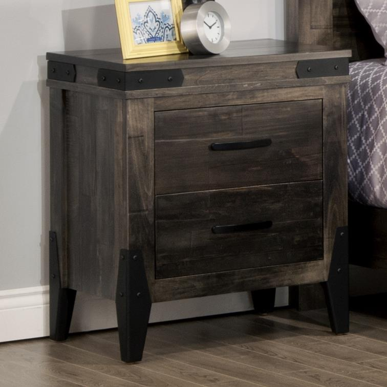 Chattanooga 2 Drawer Night Stand by Handstone at Jordan's Home Furnishings