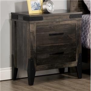 2 Drawer Night Stand with Metal Brackets