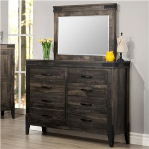 8-Drawer Tall Dresser with Mirror
