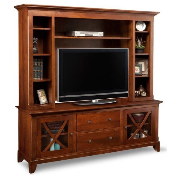 """Florence 75"""" HDTV Cabinet with Hutch by Handstone at Jordan's Home Furnishings"""