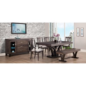 Customizable Verona Formal Dining Room Group with Bench
