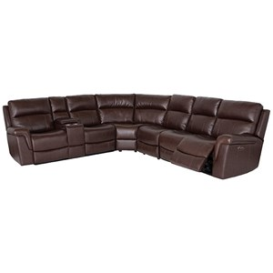 3 Piece Genuine Leather Reclining Sectional w/Cupholder, Storage Console, USB Port, and Power Headrests