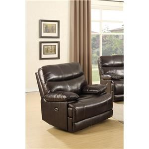Power Leather Match Recliner