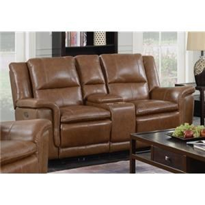 Light Brown Power Reclining Loveseat with Console