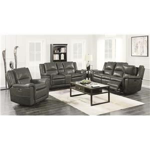 2 Piece Set Charcoal Power Reclining Sofa and Console Loveseat