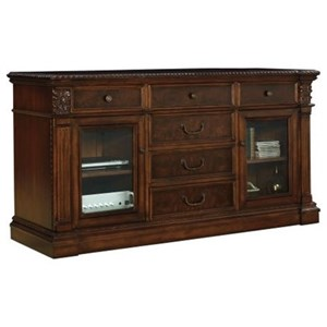 Traditional Entertainment Console with Glass Doors