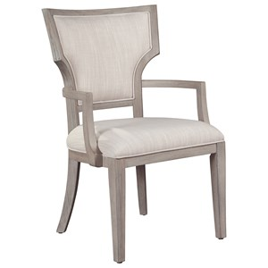 Upholstered Fan Back Dining Arm Chair