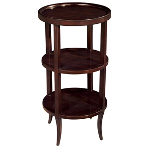 Round Accent Table with 2 Shelves