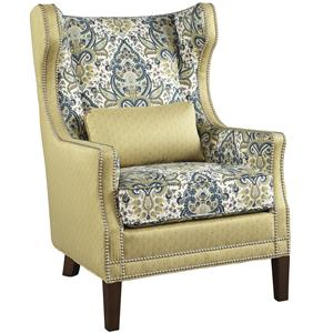 Traditional Gardner Wing Chair with Nailhead Trim