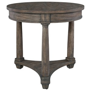 Round Lamp Table with Triangular Base