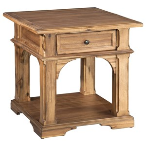 Canted Block End Table with Single Drawer