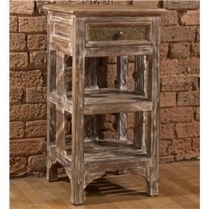 End Table with Two Shelves and Distressed Finish