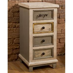White Four Drawer Cabinet with Key Hardware