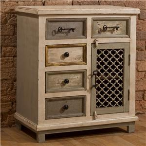 White Cabinet with Key Hardware and Woven Metal Door
