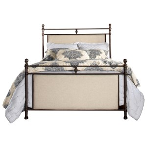 Traditional King Size Upholstered Bed with Metal Posts