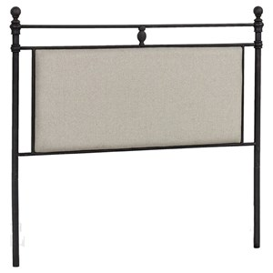 Traditional King Size Upholstered Headboard with Metal Posts