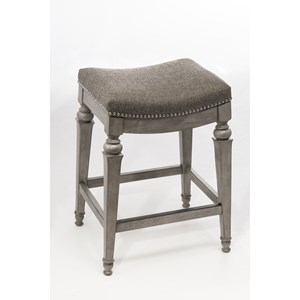 Backless Non-Swivel Bar Stool with Nailhead Trim