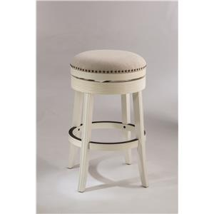 White Backless Swivel Bar Stool with Nailhead Trim