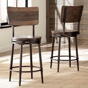 Swivel Bar Stool with Wood Backrest
