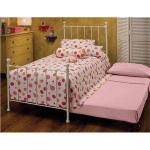 Hillsdale Metal Beds Twin White Molly Bed with Underbed Trundle