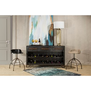 Black Wood With Metal Accents Sofa Table with Wine Rack