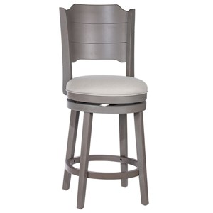 Farmhouse Swivel Counter Stool with Upholstered Seat