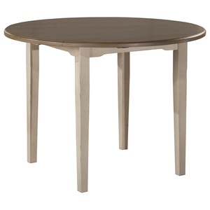 Round Drop Leaf Dining Table w/ Straight Leg